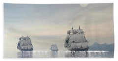 Three Old Ships Sailing In The Ocean Beach Towel