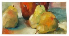 Beach Towel featuring the painting Three Pears And A Pot by Michelle Abrams
