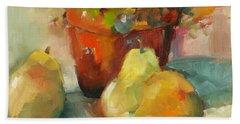 Three Pears And A Pot Beach Towel