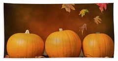 Three Pumpkins Beach Sheet by Amanda Elwell