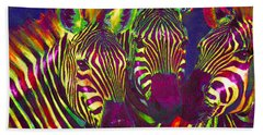 Three Rainbow Zebras Beach Towel by Jane Schnetlage