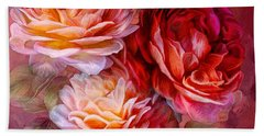 Beach Towel featuring the mixed media Three Roses - Red by Carol Cavalaris