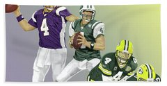 Three Stages Of Bret Favre Beach Towel