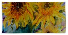 Beach Towel featuring the painting Three Sunflowers by Beverley Harper Tinsley