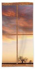 Three Trees Sunrise Barn Wood Picture Window Frame View Beach Towel