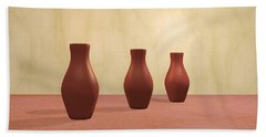 Beach Sheet featuring the digital art Three Vases by Gabiw Art