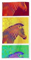Three Zebras 2 Beach Towel by Jane Schnetlage