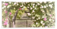 Beach Towel featuring the photograph Through The Rose Arbor by Elaine Teague