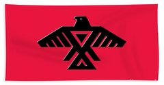 Thunderbird Emblem Of The Anishinaabe People Black On Red Version Beach Towel
