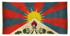 Tibet Flag Vintage Distressed Finish Beach Towel