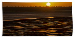 Beach Towel featuring the photograph Tidal Pattern At Sunset by Jeff Goulden
