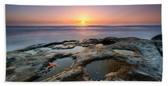 Tide Pool Sunset Beach Towel by Michael Ver Sprill