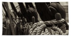 Tied Up Black And White Sepia Beach Towel