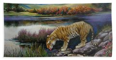 Tiger By The River Beach Towel