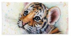 Tiger Cub Watercolor Art Beach Towel