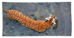Beach Sheet featuring the photograph Tiger In The Stream by Robert Meanor