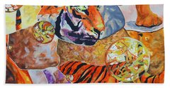Beach Towel featuring the painting Tiger Mosaic by Daniel Janda
