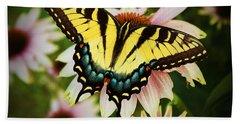 Tiger Swallowtail Butterfly Beach Sheet by Michael Porchik