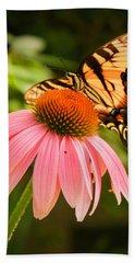 Tiger Swallowtail Feeding Beach Sheet by Michael Porchik