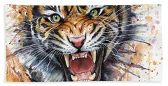 Tiger Watercolor Portrait Beach Towel