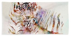 Tiger With Cub Watercolor Beach Towel