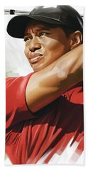 Tiger Woods Artwork Beach Towel by Sheraz A