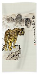 Tiger Beach Towel by Yufeng Wang