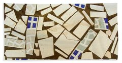 Tile Pieces In Brown Grout Beach Towel