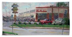 Tim Hortons By Niagara Falls Blvd Where I Have My Coffee Beach Towel