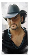 Tim Mcgraw Artwork Beach Towel by Sheraz A