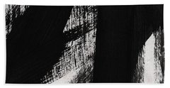 Timber- Vertical Abstract Black And White Painting Beach Towel