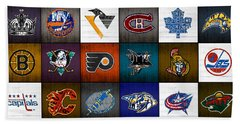 Time To Lace Up The Skates Recycled Vintage Hockey League Team Logos License Plate Art Beach Towel by Design Turnpike