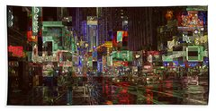 Times Square At Night - After The Rain Beach Towel