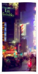 Times Square At Night - Columns Of Light Beach Towel