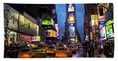 Times Square In The Rain Beach Towel