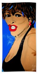 Tina Turner Fierce Blue Impression Beach Towel