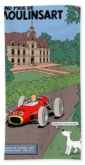 Tintin Grand Prix De Moulinsart 1965  Beach Towel