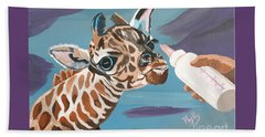 Tiny Baby Giraffe With Bottle Beach Towel