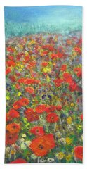Beach Towel featuring the painting Tiptoe Through A Poppy Field by Richard James Digance