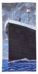 Titanic At Sea Full Speed Ahead Beach Sheet by Martin Davey