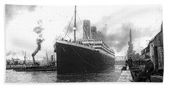 Titanic In Southampton Harbor Beach Towel