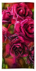 Beach Towel featuring the mixed media To Be Loved - Red Rose by Carol Cavalaris
