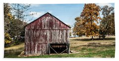 Beach Towel featuring the photograph Tobacco Barn Ready For Smoking by Debbie Green