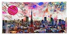 Tokyo Metropolis Beach Towel by Daniel Janda