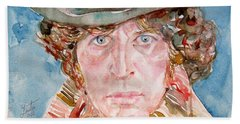 Tom Baker Doctor Who Watercolor Portrait Beach Sheet by Fabrizio Cassetta