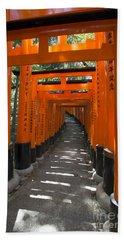 Torii Gates Of Inari Shrine Beach Towel
