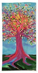 Beach Towel featuring the painting Tori's Tree By Jrr by First Star Art