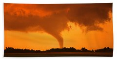 Tornado Sunset Beach Sheet by Jason Politte