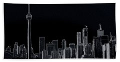 Toronto Skyline Black And White Abstract Beach Towel