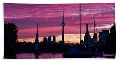 Toronto Skyline - The Boats Are Coming In Beach Towel